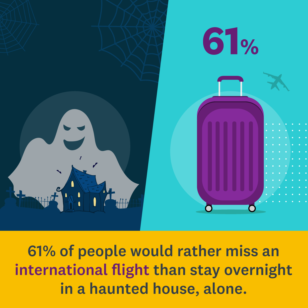 haunted house and suitcase