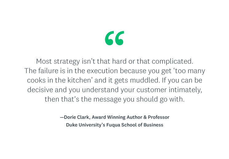 """""""Most strategy isn't that hard or that complicated. The failure is in the execution because you get 'too many cooks in the kitchen' and it gets muddled. If you can be decisive and you understand your customer intimately, then that's the message you should go with."""""""