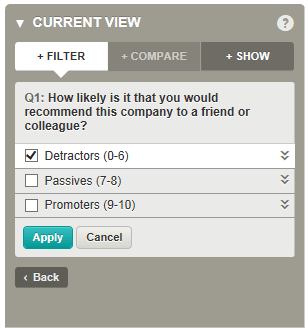 NPS question filter