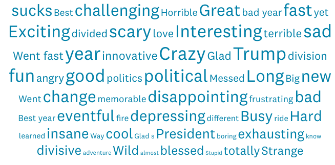 good and bad words from survey about 2018: sucks, best, great, terrible, sad, interesting, fast, etc.