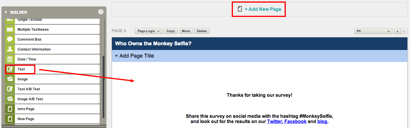 Adding a page to the end of survey