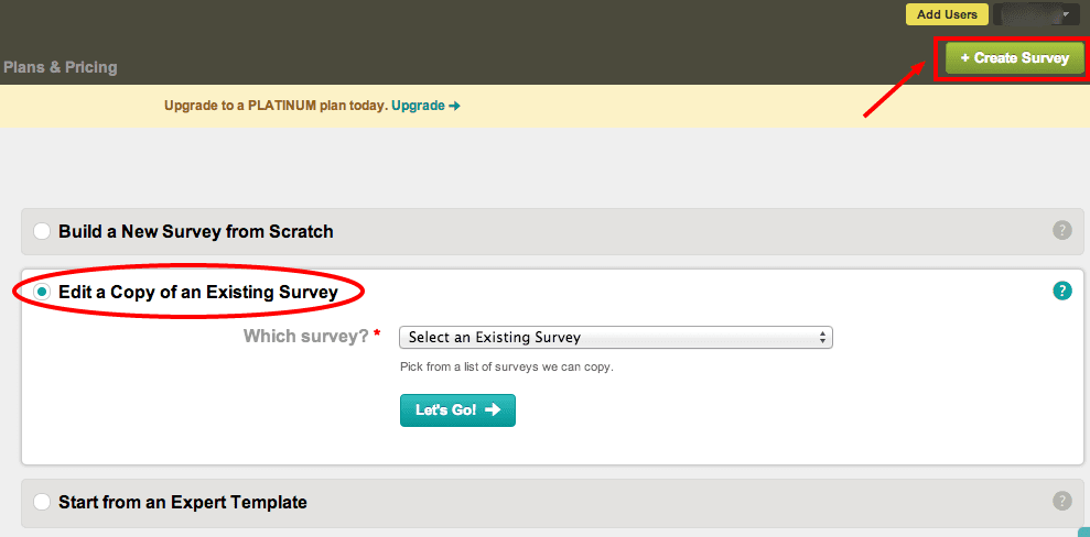 Copying an existing survey