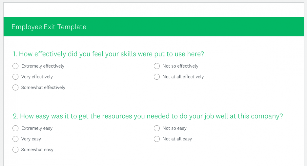 Preview of SurveyMonkey employee exit template
