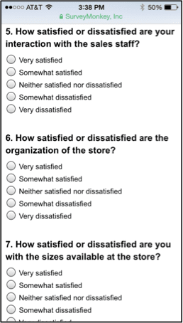 Individual questions on mobile