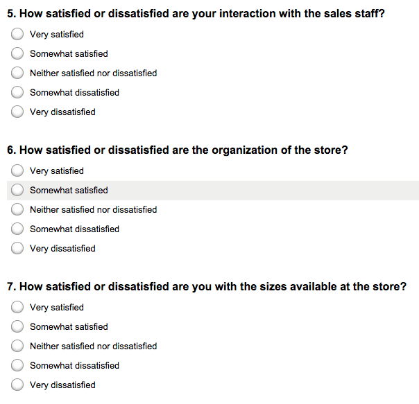 Matrix survey with individual questions