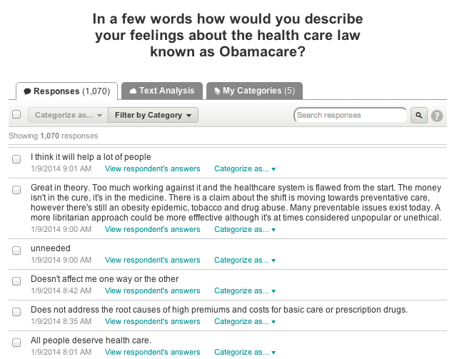 Open-ended responses about Obamacare