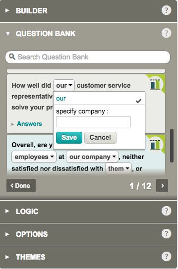 Customizable Question Bank question