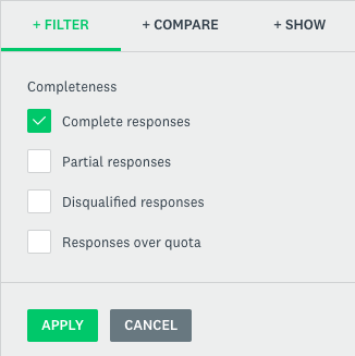 complete responses filter