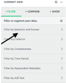 Select Filter by Question and Answer
