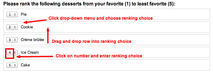 Setting up ranking question