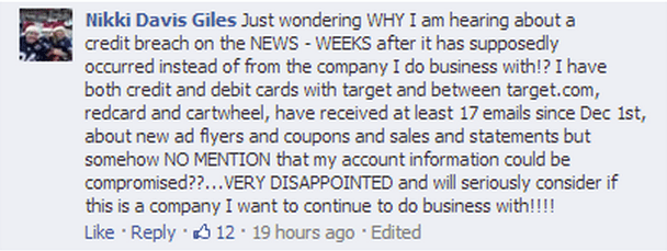 Comment from a Target customer after data breach